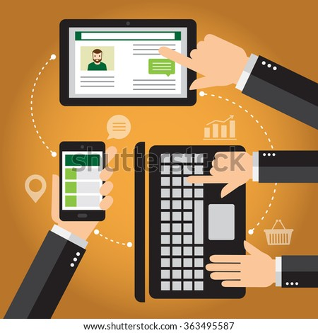 Hands touching one smart-phone mobile, one tablet and one computer. Conceptual illustration about communication. - stock vector