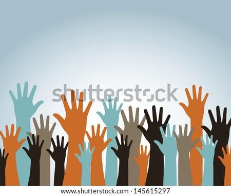 hands up over blue background vector illustration - stock vector