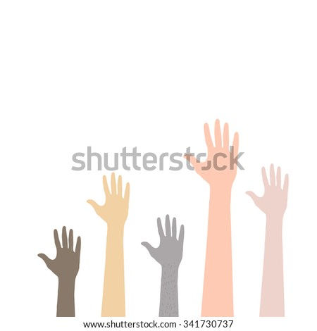 Hands up vector. - stock vector