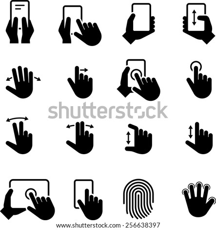 Hands using computer screens, tablets, and phones. Vector icons for digital and print projects. - stock vector