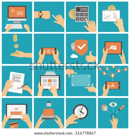 Hands using tablet, mobile phone and computer in different situations - shopping, watching video, working, social networking - set of flat design illustrations  - stock vector