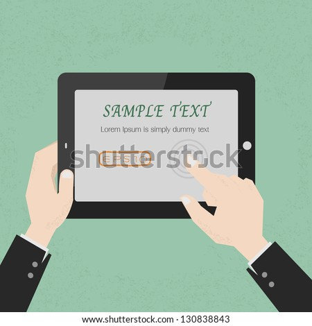 Hands with a tablet touch , eps10 vector format - stock vector