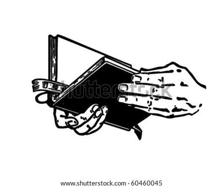 Hands With Bible - Retro Clip Art - stock vector