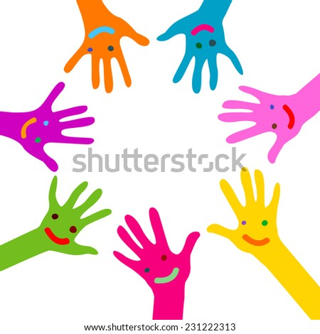 hands  with faces - stock vector