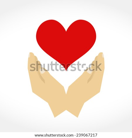 Hands with heart, design elements for your logo, flat design, vector eps10 illustration - stock vector