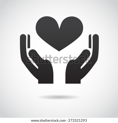 Hands with heart icon isolated on white background. Vector art. - stock vector