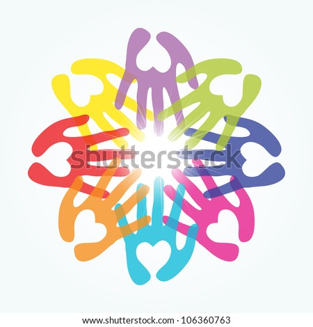 hands with heart shape connecting vector - stock vector