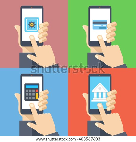 Hands with smartphones 4 banners set. Mobile banking, personal account, pay with smartphone, calculations, deposit concepts for web banners, web sites, infographics. Flat design vector illustration - stock vector