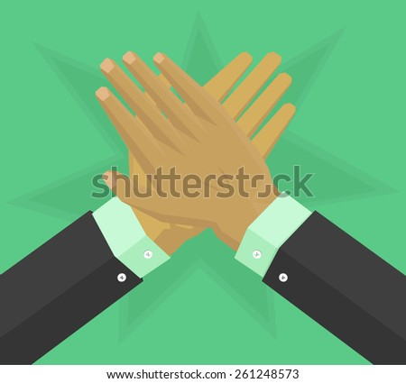 Hands with suit give applause - stock vector