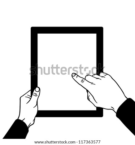 Hands with the touch, vector illustration - stock vector