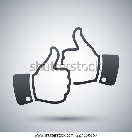 Hands with thumbs up icon, vector - stock vector