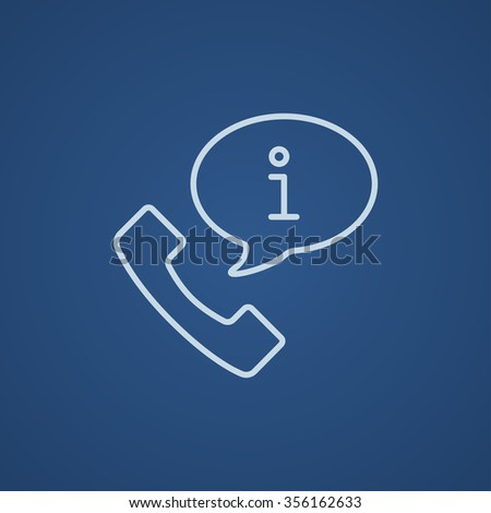 Handset with information sign line icon for web, mobile and infographics. Vector light blue icon isolated on blue background. - stock vector