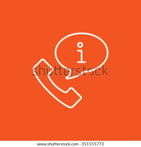 Handset with information sign line icon for web, mobile and infographics. Vector white icon isolated on red background. - stock vector