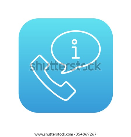 Handset with information sign line icon for web, mobile and infographics. Vector white icon on the blue gradient square with rounded corners isolated on white background. - stock vector