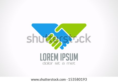 Handshake abstract logo vector design template. Business creative concept. Deal, contract, team, cooperation symbol icon. Corporate financial sign. - stock vector