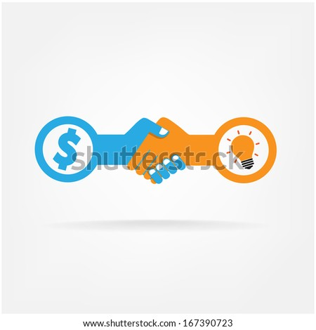 Handshake abstract sign vector design template. Business creative concept. Deal, contract, team, cooperation symbol icon  - stock vector