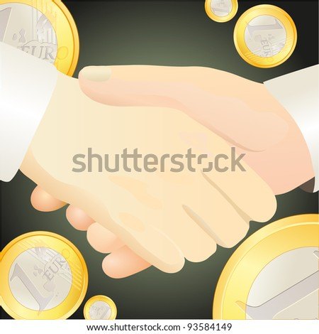 Handshake against Euro-related  background - stock vector