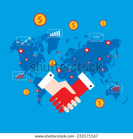 Handshake and money icons on world map background Successful business concept - stock vector
