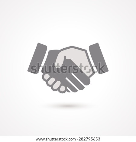 Handshake black  icon, symbol about business deal - stock vector