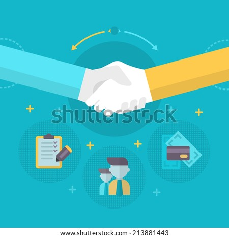 Handshake. Businessmen shake hands concluding a bargain. Concept of partnership in business - stock vector