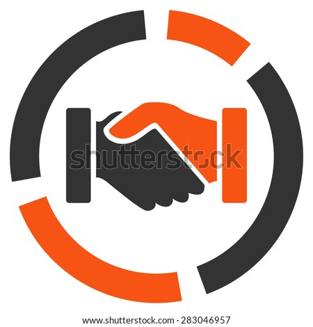 Handshake diagram icon from Business Bicolor Set. Vector style: bicolor flat symbol, orange and gray colors, rounded angles, white background. - stock vector