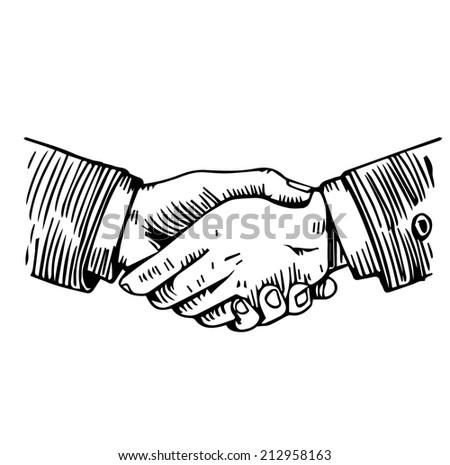 Handshake engraving - stock vector