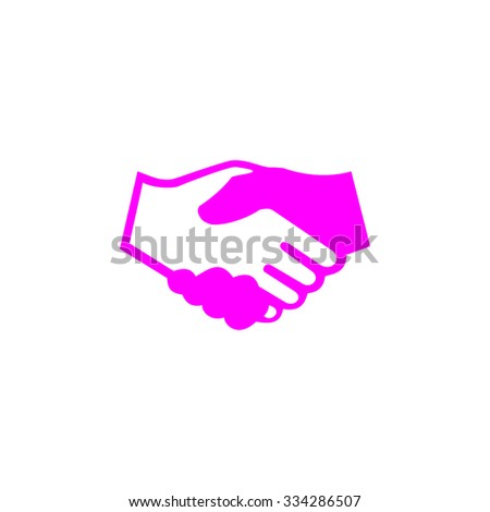 Handshake for business and finance. Pink flat icon. Simple vector illustration pictogram on white background - stock vector