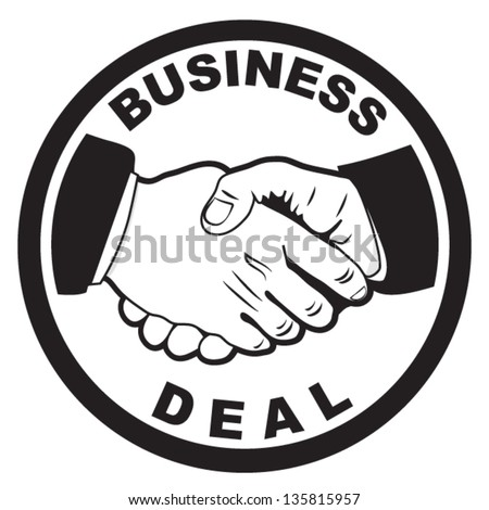 handshake icon,business deal symbol,emblem concept silhouette vector - stock vector