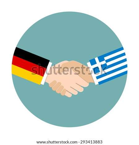 Handshake icon. Germany flag and Greece flag as politics and negotiation concept. - stock vector