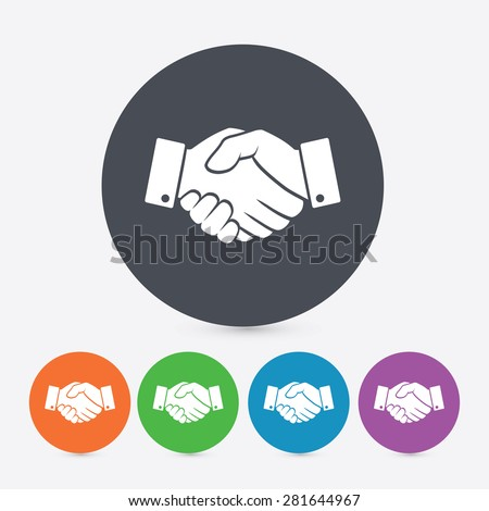 Handshake icons. 5 different colors. - stock vector