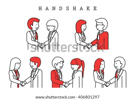 Handshake-Isolated On White Background-Vector Illustration,Graphic Design.Business Concept For Web,Websites.Businesspeople Thin Line - stock vector