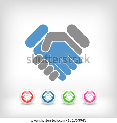 Handshake minimal icon - stock vector