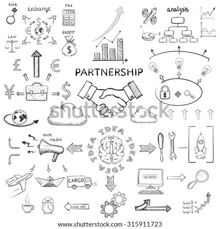 Handshake of two men. Diagram business success. Doodle image. Stock Vector illustration. - stock vector