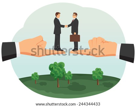 Handshake of two small businessmen on huge fingers of their bosses - stock vector