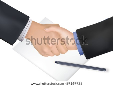 Handshake over paper and pen. Photo-realistic vector illustration. - stock vector