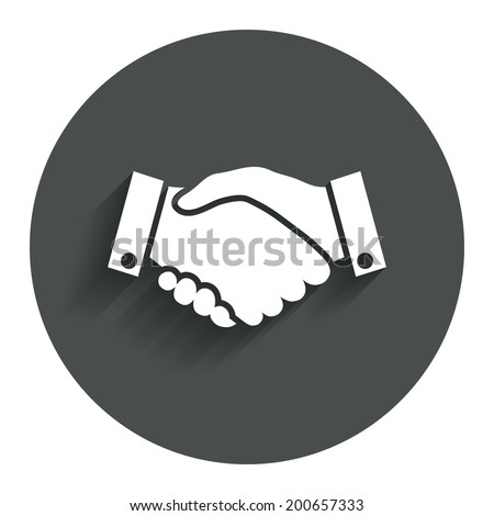Handshake sign icon. Successful business symbol. Circle flat button with shadow. Modern UI website navigation. Vector - stock vector