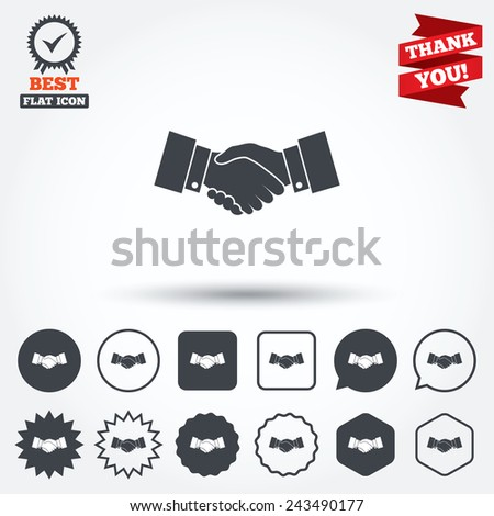 Handshake sign icon. Successful business symbol. Circle, star, speech bubble and square buttons. Award medal with check mark. Thank you ribbon. Vector - stock vector