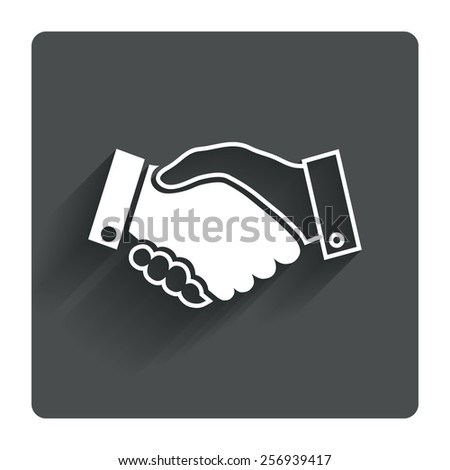 Handshake sign icon. Successful business symbol. Gray flat square button with shadow. Modern UI website navigation. Vector - stock vector