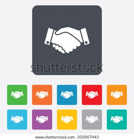 Handshake sign icon. Successful business symbol. Rounded squares 11 buttons. Vector - stock vector