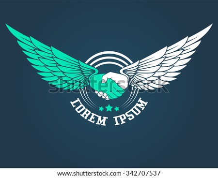 Handshake vector icon with wings. - stock vector