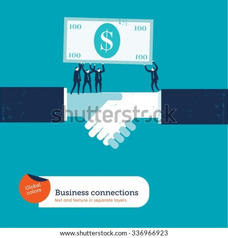 Handshake with businesspeople carrying a 100 dollar bill. Vector illustration Eps10 file. Global colors. Text and Texture in separate layers. - stock vector