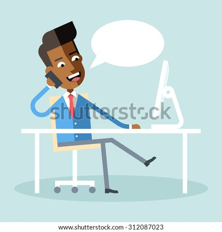 Handsome african american manager in formal suit sitting at a desk with a computer and talking on cell phone. Cartoon character - african businessman. Stock vector illustration style flat.  - stock vector
