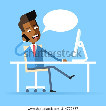 Handsome african american manager in formal suit sitting legs crossed at the desk with a computer and talking on cell phone. Cartoon character - businessman. Stock vector illustration style flat.  - stock vector