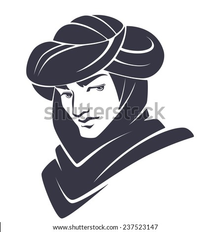 handsome and young arabian man - stock vector
