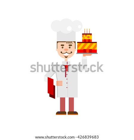 Handsome chef with birthday cake isolated at white background. Flat character of confectioer for bakery shop, cafe or web site. Confectioner. Baker. Baker. Baker. Baker. Baker. Baker. Baker. Baker. - stock vector