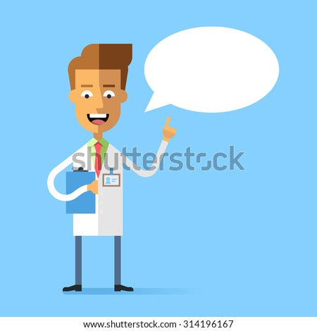 Handsome doctor in medical uniform holding up his index finger and giving advice. Attractive successful physician speaking with speech bubble. Stock vector character in flat design. - stock vector