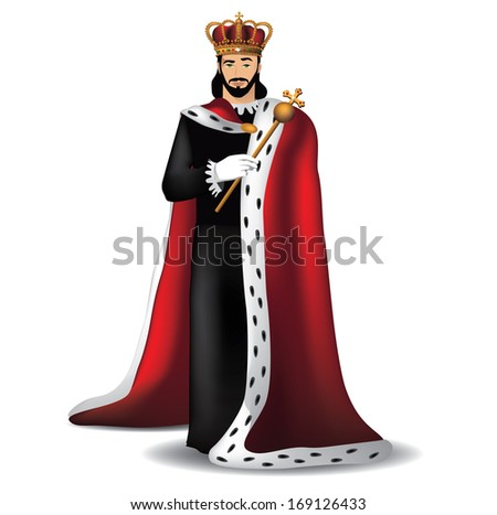 Handsome king. EPS 10 vector, grouped for easy editing. No open shapes or paths.  - stock vector