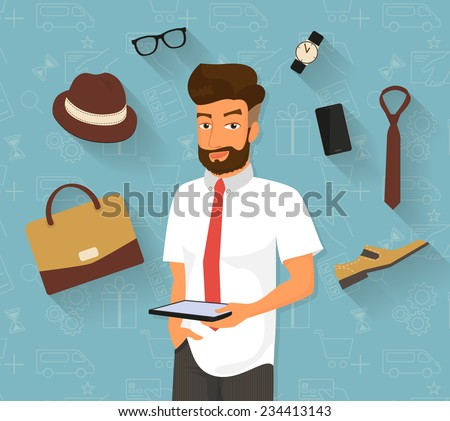 Handsome man doing online shopping in the internet store using tablet pc he chooses stylish bag and shoes, male hat with wristwatch and accessories. Illustration on seamless commerce background - stock vector