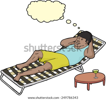 Handsome smiling Black man relaxing on deck chair - stock vector