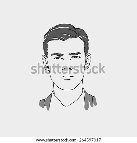 Handsome young man vector hand drawn illustration. - stock vector
